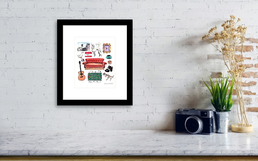 Friends Tv Show Collage Framed Print by Laura Row