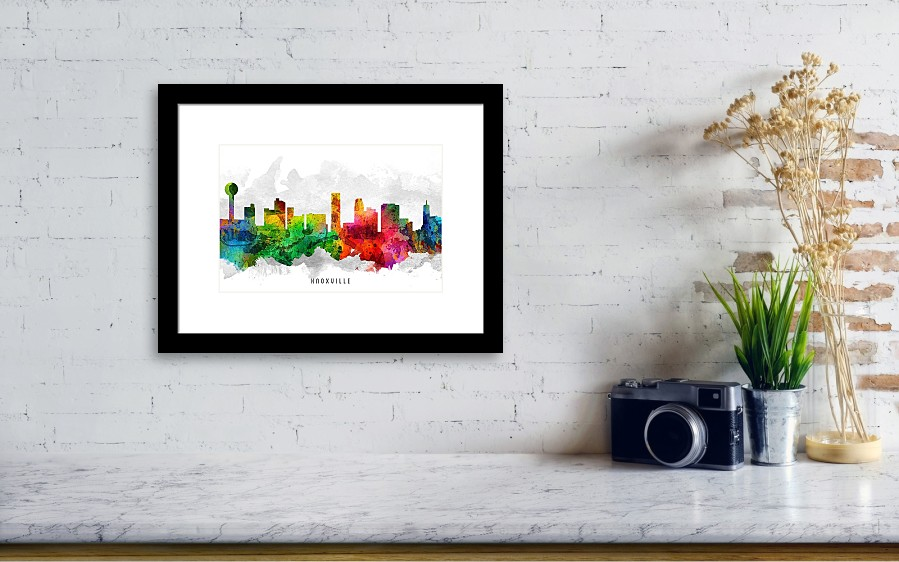 Knoxville Tennessee Cityscape 12 Framed Print by Aged Pixel
