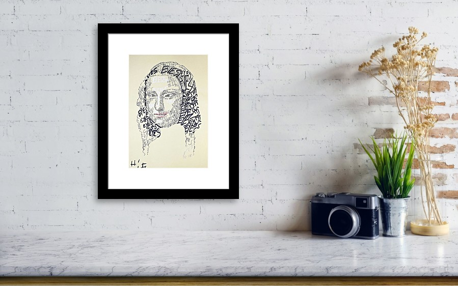 Made Out Of Words Eyes Monalisa Squinted Framed Print by Jacob Hitt