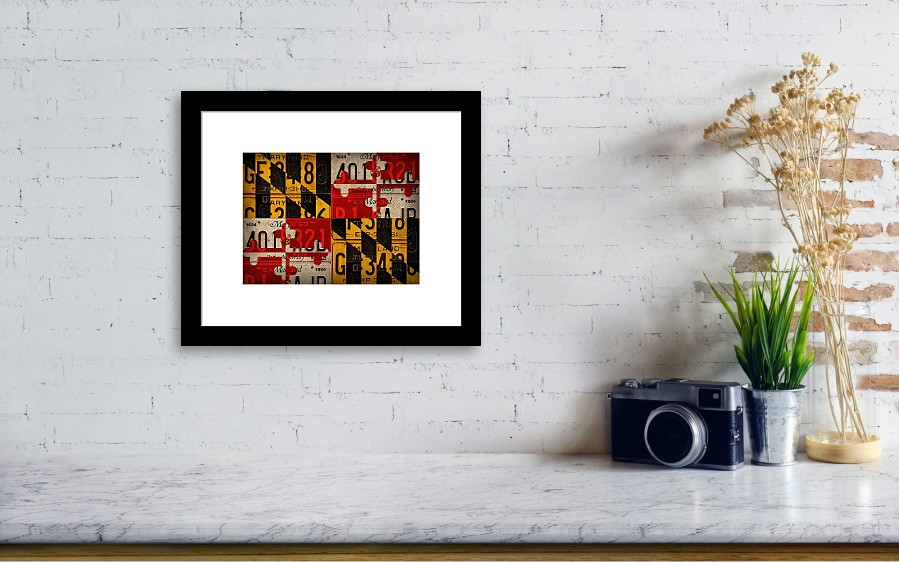 maryland state flag recycled vintage license plate art framed print