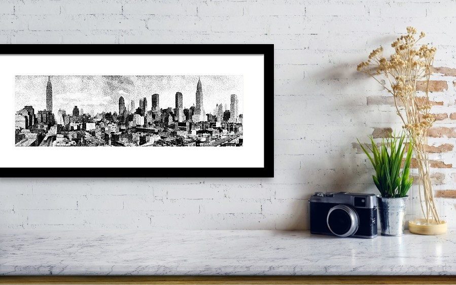 New York City Skyline Sketch Framed Print by Edward Fielding