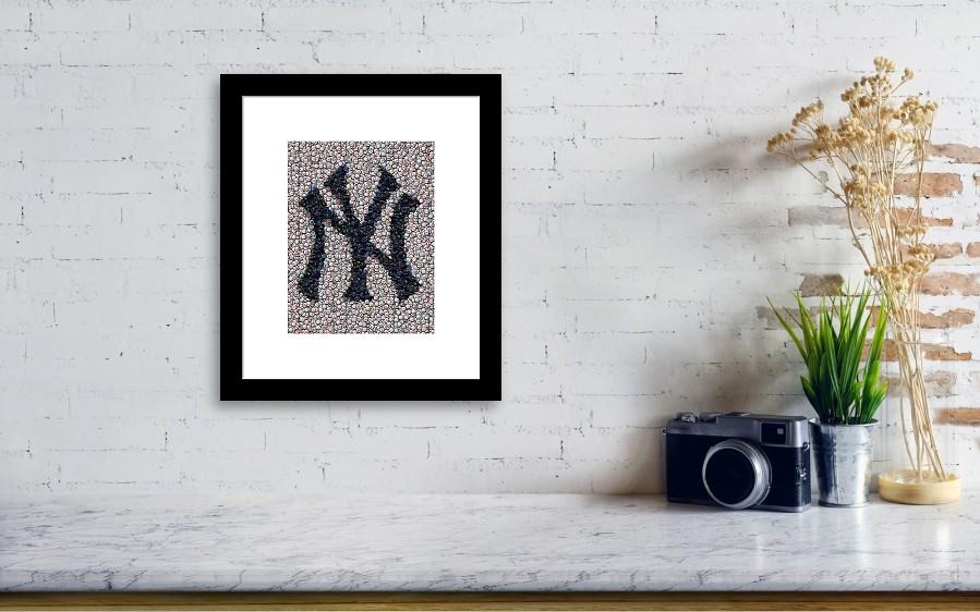 New York Yankees Bottle Cap Mosaic Framed Print by Paul Van Scott