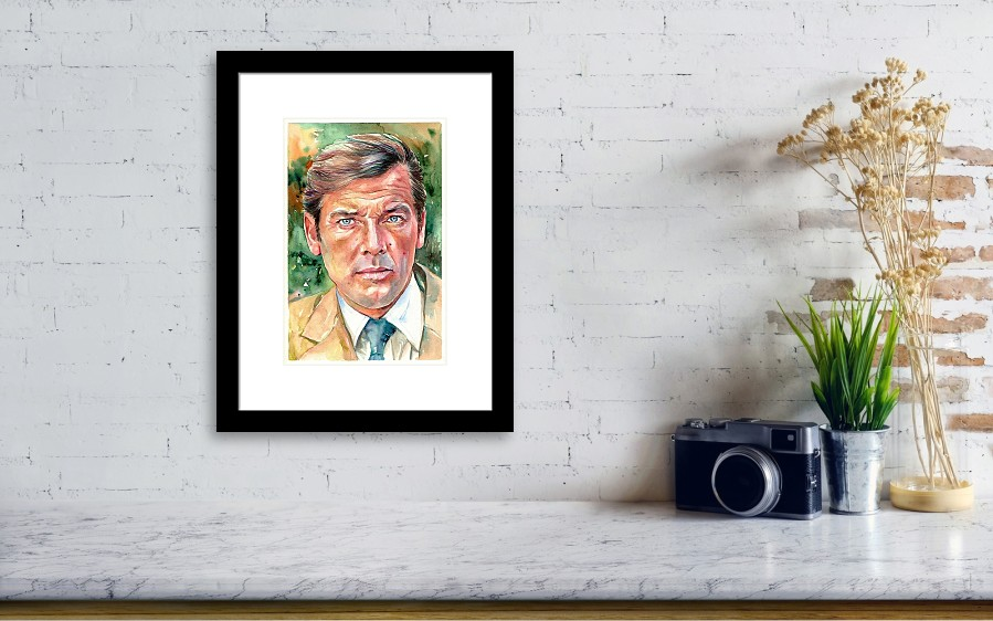 Roger Moore Portrait 007 James Bond Framed Print by Suzann\'s Art