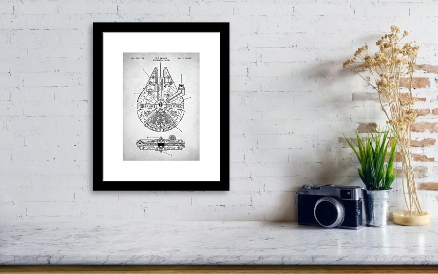Star Wars Millennium Falcon Patent Framed Print by Zapista