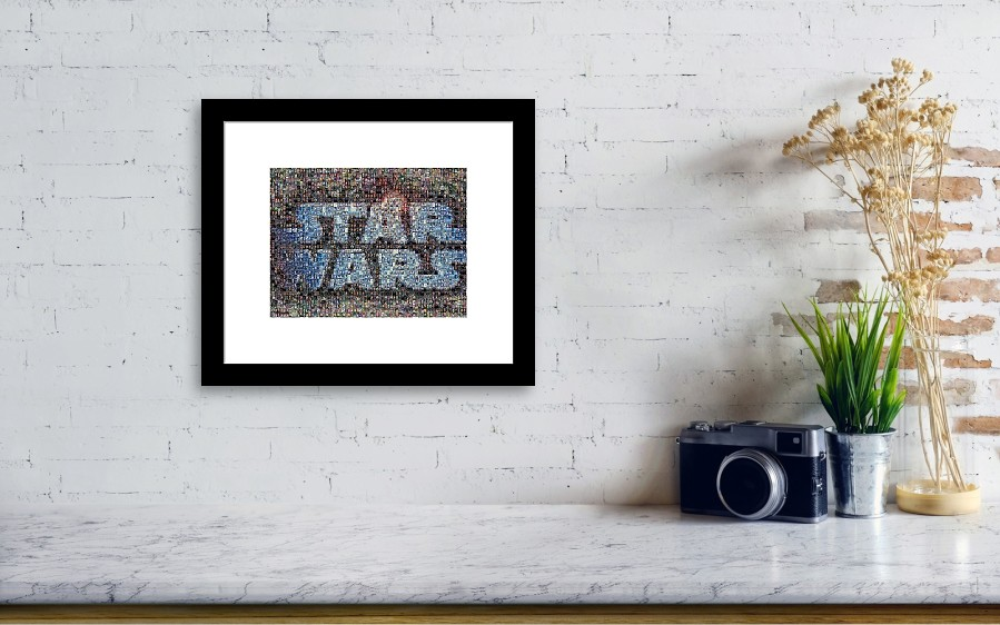 Star Wars Posters Mosaic Framed Print by Paul Van Scott