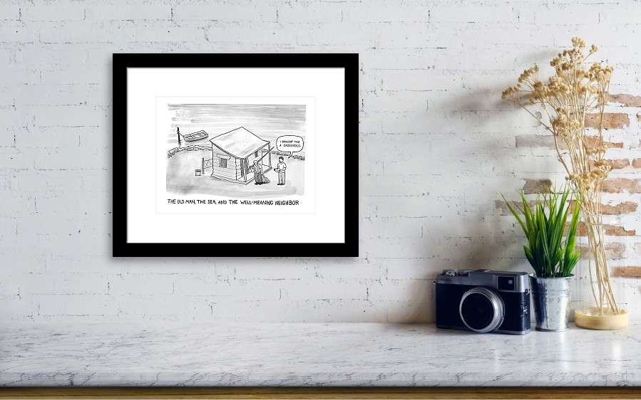 The Old Man, The Sea And The Well-meaning Neighbor Framed Print by ...