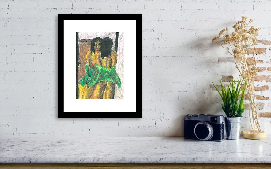 Woman With Blouse Looking Herself At The Mirror Framed Print by Joao ...