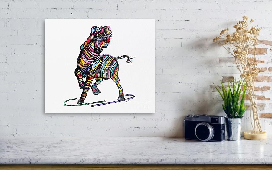 Kaleidoscope Zebra Baby Strut Your Stuff Metal Print