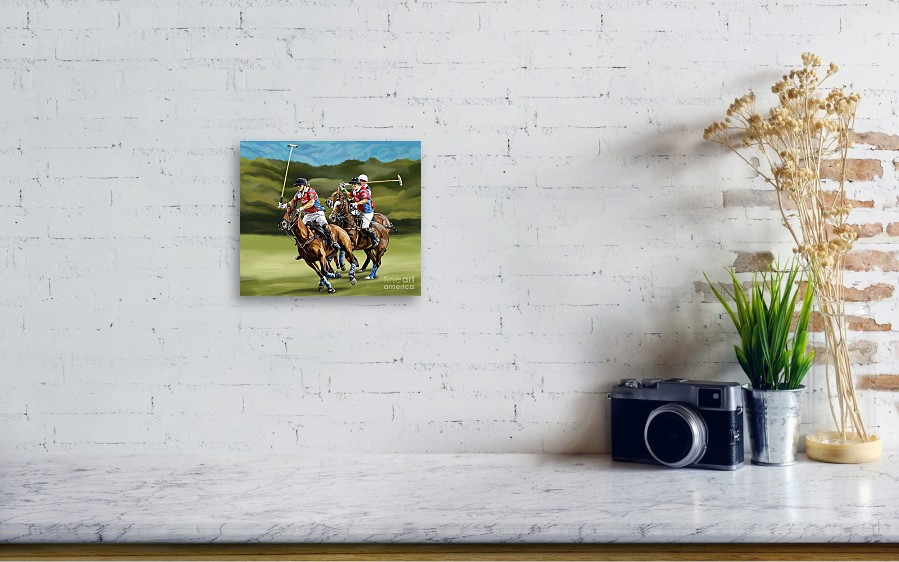 12c5a4ce522c ... featuring the painting Polo Game Horses by Tim Gilliland. Wall View 001