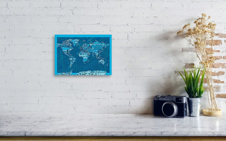 World map landmark collage blue metal print by bekim art world map landmark collage blue by bekim wall view 001 gumiabroncs Images