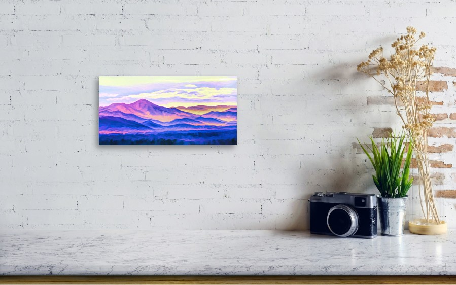 First Light Painted Mountains Metal Print