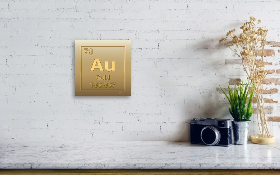 Periodic table of elements gold au gold on gold metal print by wall view 001 urtaz Choice Image