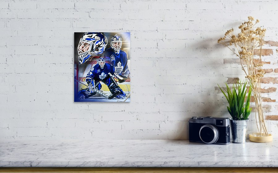 Felix Potvin Poster featuring the painting Felix The Cat by Mike Oulton.  Wall View 001 9d823c96f