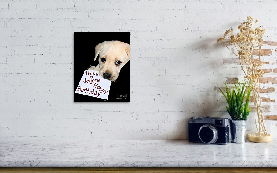 Happy Birthday Puppy Card Poster By Linda Galok
