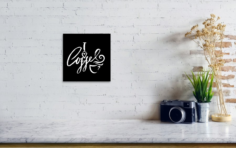 I Love Coffee  Modern Dry Brush Lettering  Coffee Quotes  Hand Written  Design  Cafe Poster, Print, Template  Vector Illustration  Art Print