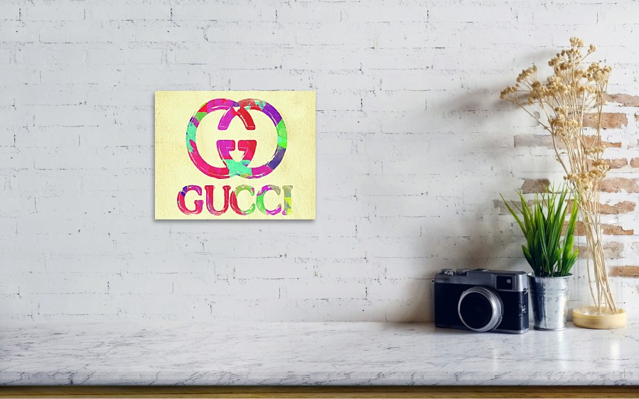 8b513aa19 Gucci Poster featuring the photograph Abstract Gucci Logo Watercolor II by Ricky  Barnard. Wall View 001