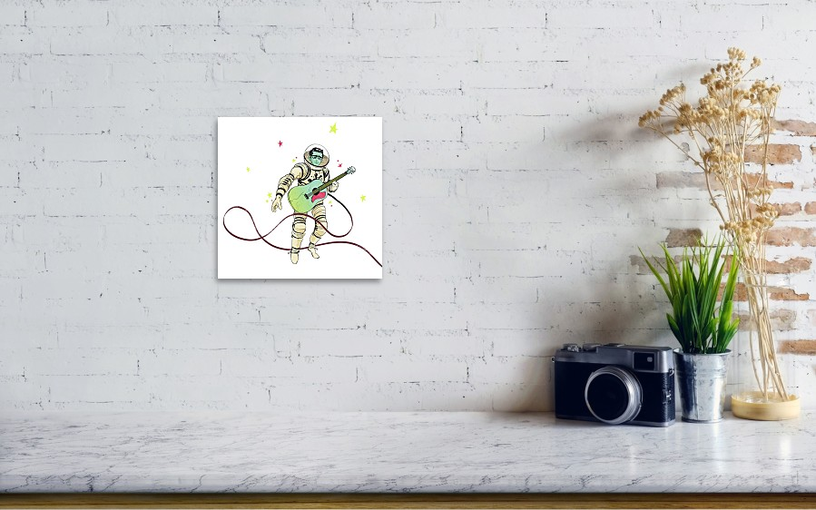 580eb2a1cbe31 Astronaut Holding Guitar Art Print by Goni Montes