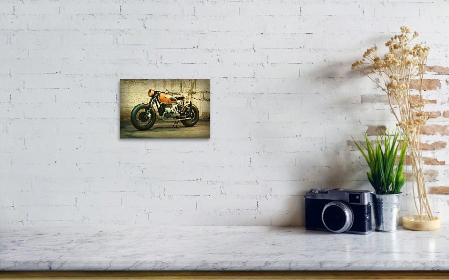 Classic Bmw Motorcycle Vintage Shot Against Concrete Wall Art Print ...