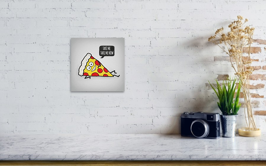 ff5eb616 Pizza Poster featuring the digital art Funny And Cute Delicious Pizza Slice  Wants Only You by. Wall View 001