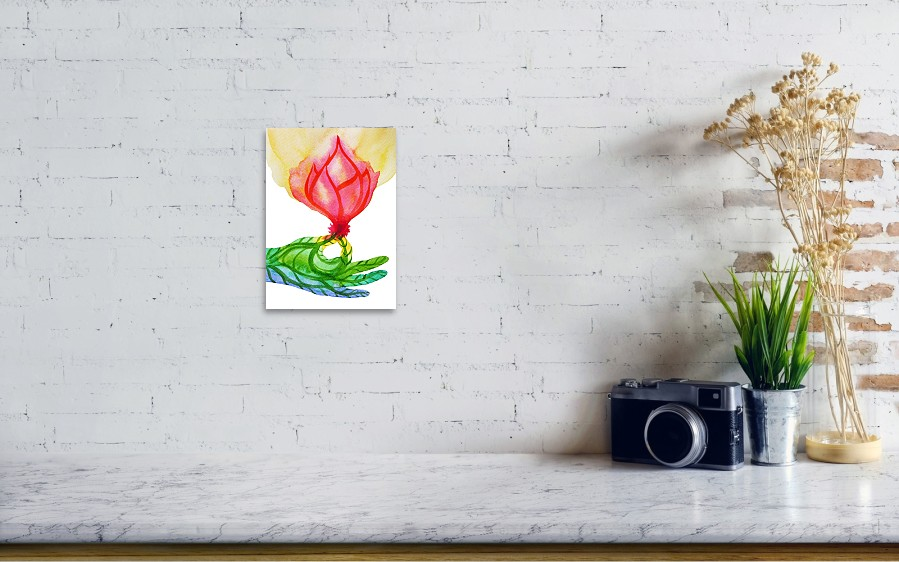 Gyan Mudra With Pink Lotus Flower Hand Pose Art Print By Benjavisa