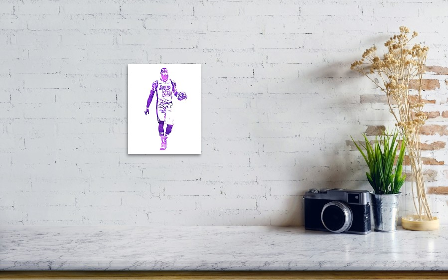 768248cd8d5 Lebron James Art Print featuring the mixed media Lebron James Los Angeles  Lakers Water Color Pixel. Wall View 001