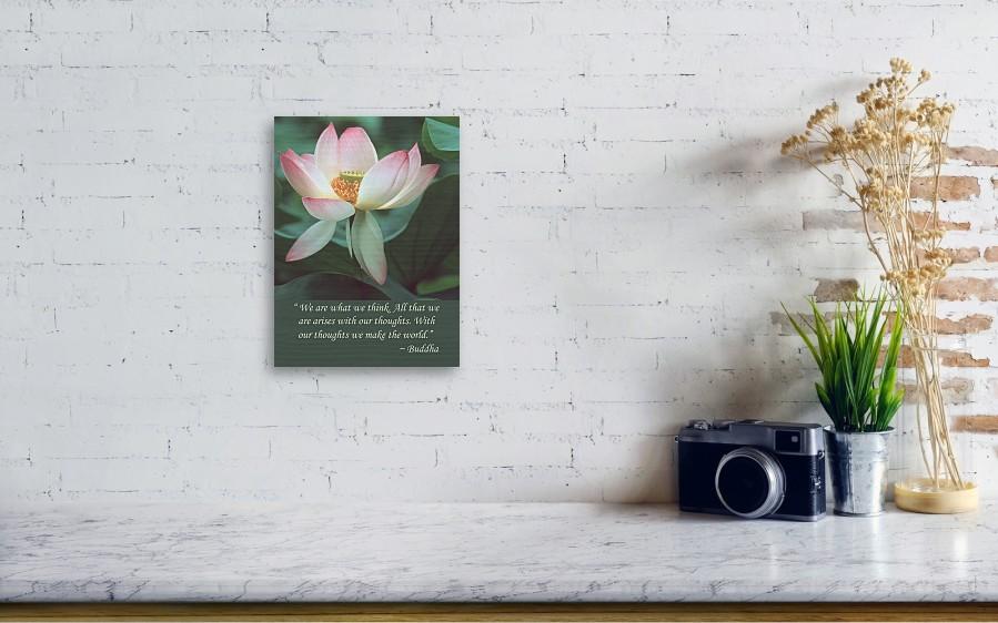 Lotus Flower Buddha Quote Wood Print By Chris Scroggins
