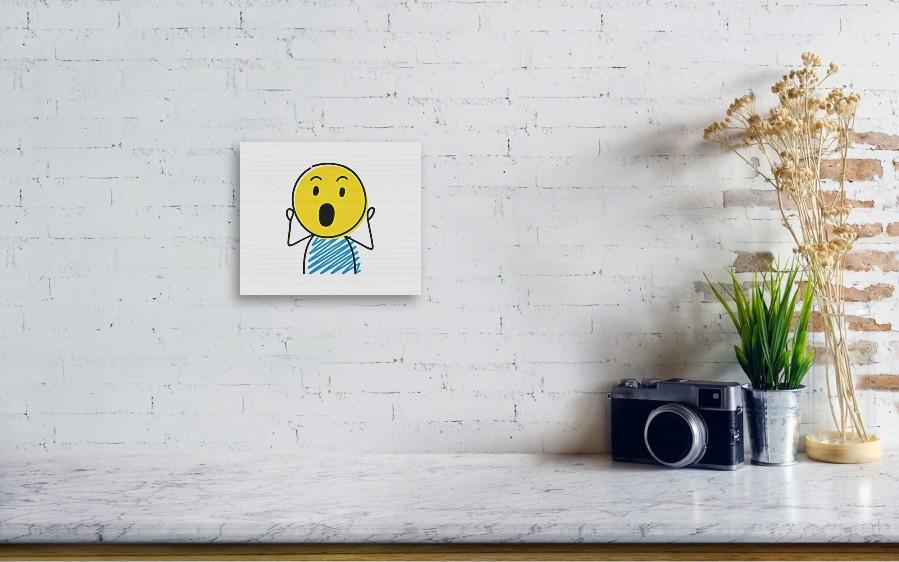 Stickman With Surprised 'wow' Emoji  Vector  Wood Print