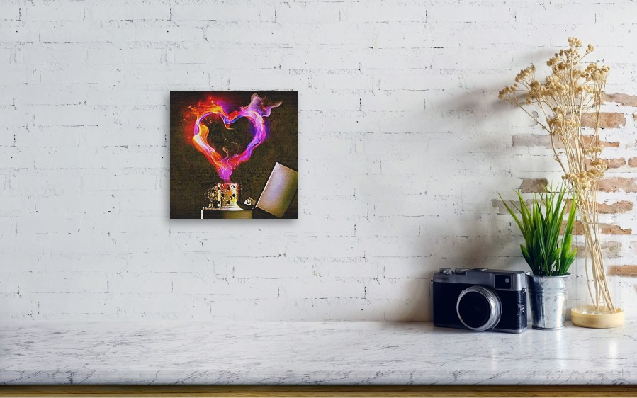 Heart Love Lighter Flame Fire Heat Wood Print By Sophie D