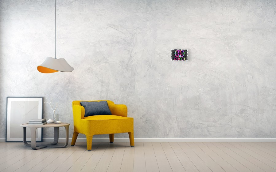db7f84eafdba Gucci Canvas Print featuring the photograph Abstract Gucci Logo Watercolor  by Ricky Barnard. Wall View 001. Wall View 002