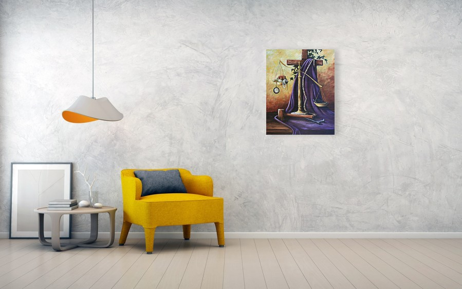 Oil Painting Wood Print featuring the painting The Purple Robe by Cynara  Shelton. Wall View 001. Wall View 002 6d83e7cdc