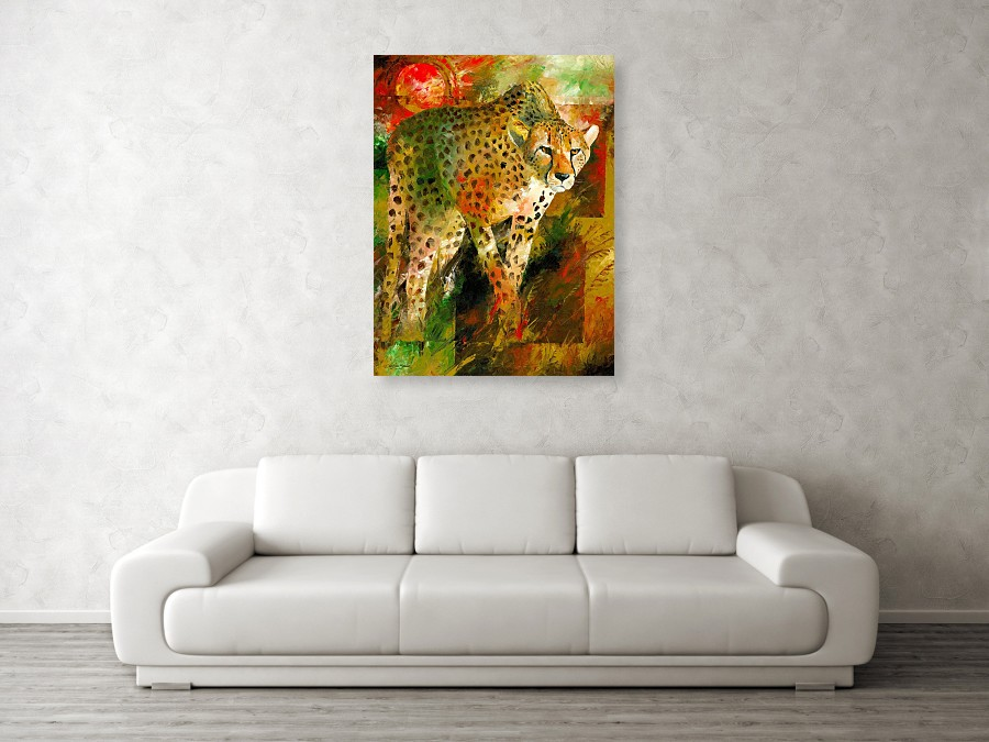 cheetah hunting art against a wall