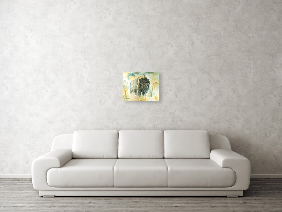 Bison buffalo prints against a wall