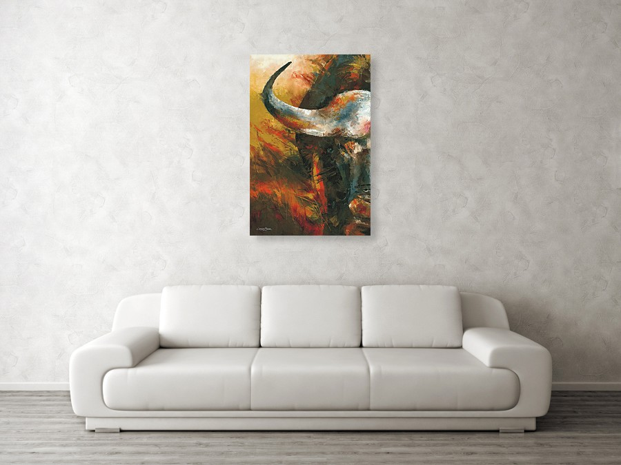 cape buffalo art print against a wall