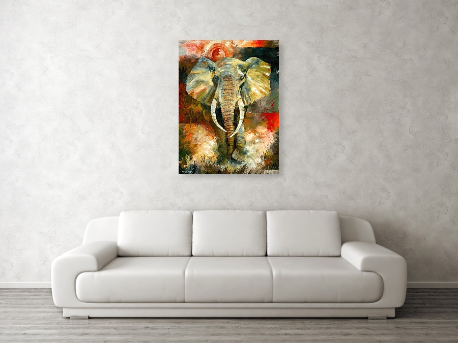 charging african elephant art prints against a wall