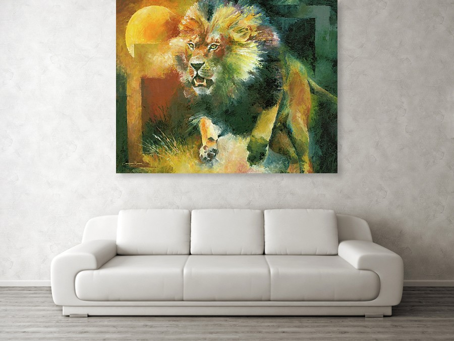 charging lion art prints against a wall