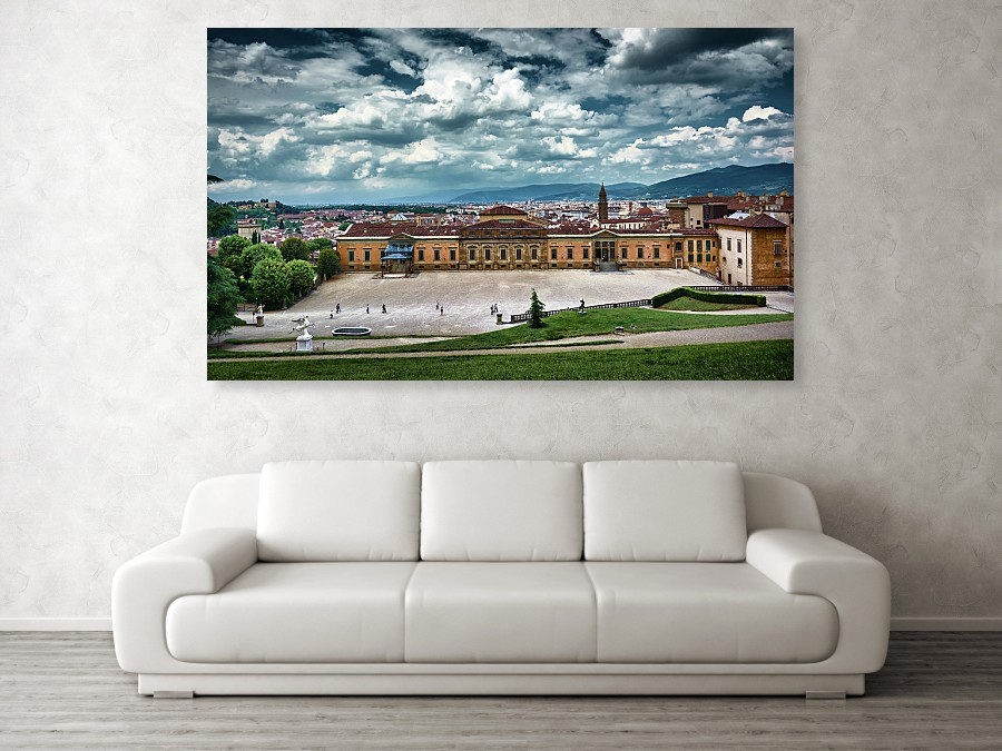 Large canvas print of Florence in living room