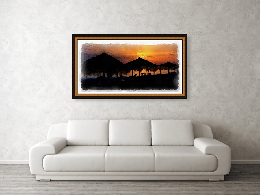 Caribbean Sunset by Dawn Currie 48 x 24 with custom frame