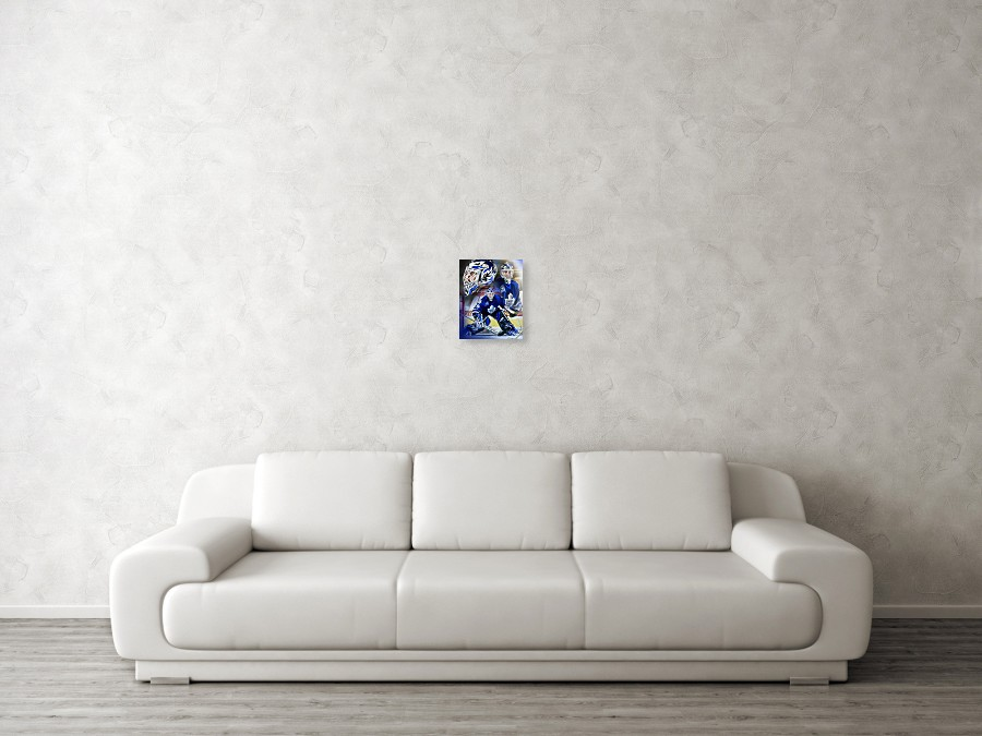 Felix Potvin Poster featuring the painting Felix The Cat by Mike Oulton.  Wall View 001. Wall View 002. Wall View 003 329364ebd
