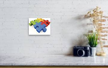 Large Colorful 3d Jigsaw Puzzle Pieces Acrylic Print