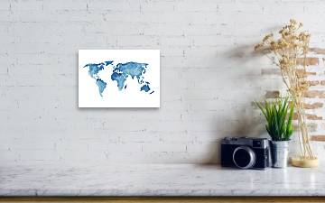 World Map Blue Navy Kids Room Painting Watercolor Baby Boy Nursery Wall Decor Acrylic Print