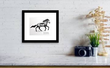 Abstract Polygonal Horse  Geometric Hipster Illustration Framed Print