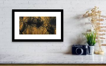 Art Of Elegance Black And Gold Abstract Muted Gold Framed Print