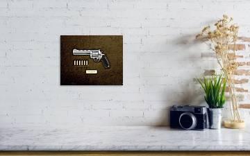 44 Magnum Colt Anaconda With Ammo On Brown Velvet Poster