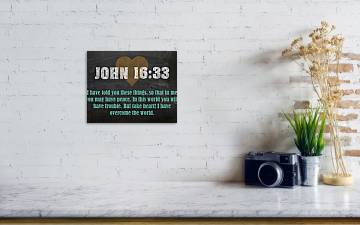 John 16 33 Inspirational Quote Bible Verses On Chalkboard Art Poster By Design Turnpike