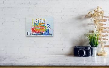 Wondrous Happy Birthday Blue Cake Wood Print Creativecarmelina Interior Chair Design Creativecarmelinacom